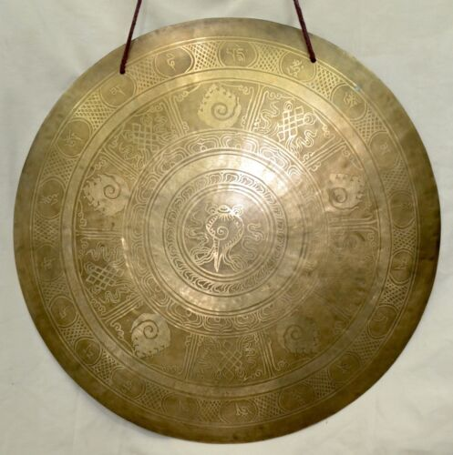 "Temple Gong 20"" 3kg Shell carving Meditation Yoga Chakra Therapy Hand Made Nepal"