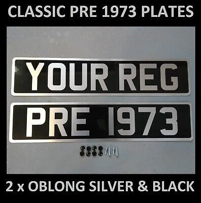 Black and Silver Number Plates Pre 1973 Cars Vintage Metal Classic UK Aluminium