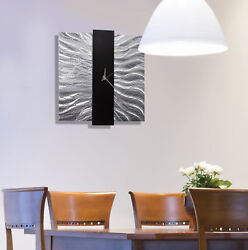 Statements2000 Metal Wall Clock Art Modern Silver Black Hanging Decor Jon Allen