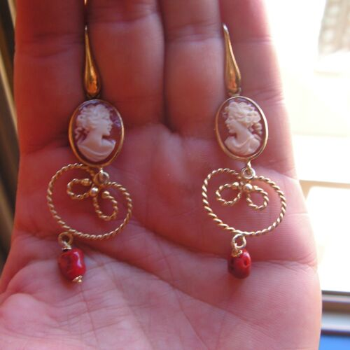 Vintage Victorian Style Carved Cameo Earrings Pendant  Made In Italy Red Coral