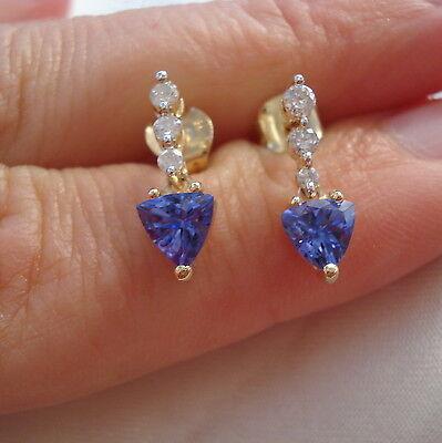 1.50ct AA Tanzanite & Diamond Yellow Gold Drop Earrings