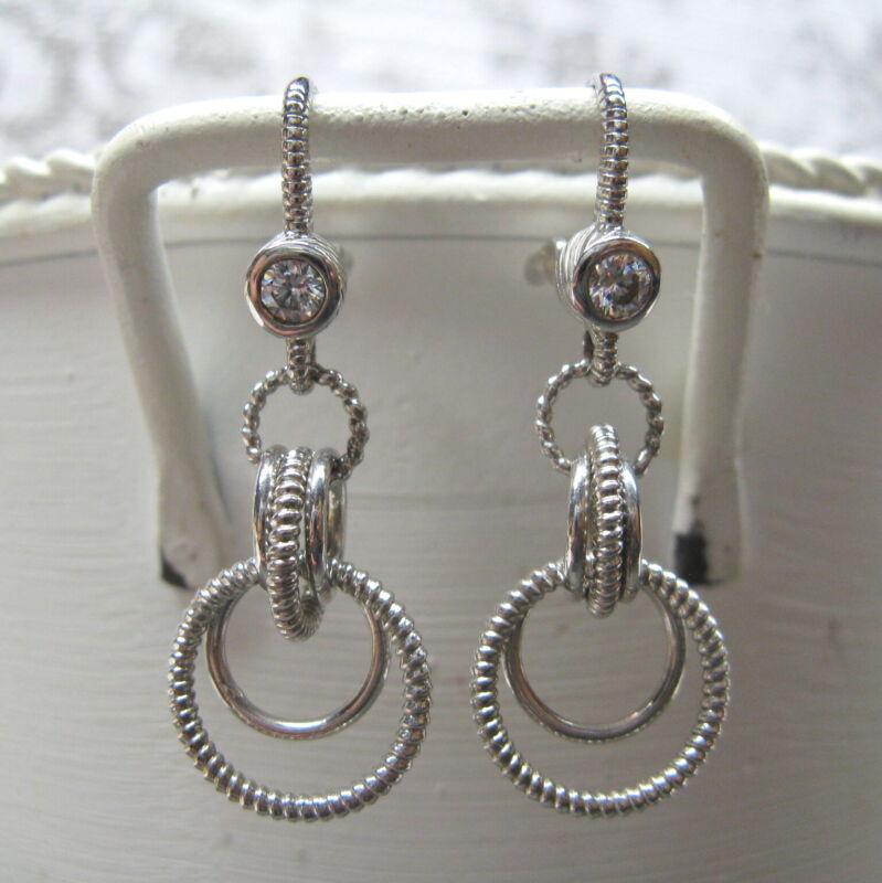Judith Ripka Sterling Silver Earrings Diamonique Multi Hoop Circles Leverback