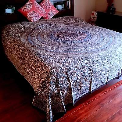 Blue Floral Tapestry (Kalamkari Block Print Tapestry Floral Cotton Bedspread Queen Coverlet Blue Red)