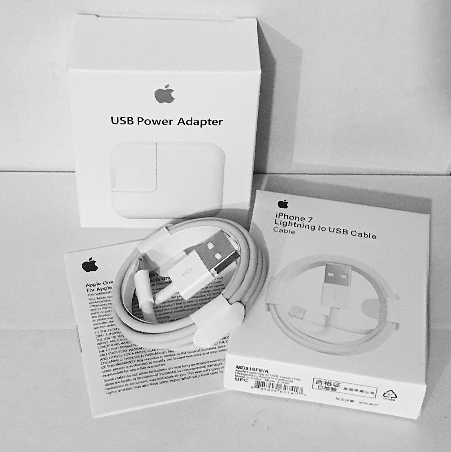 OEM 12W USB Power Adapter Wall Charger for Apple iPhone iPad w/ Lightning Cable