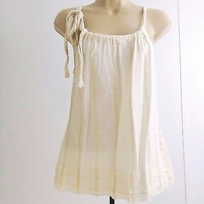 Old Navy Women Small Sleeveless Tank Gold White Top Blouse Shirt  Bow Tie C2 Old Navy Bow Tie