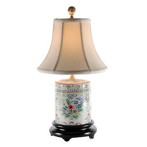 small floral porcelain caddy traditional accent table lamp 16 034 high. Black Bedroom Furniture Sets. Home Design Ideas