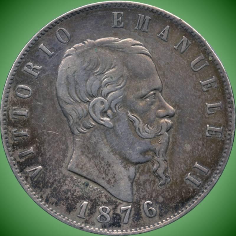 """Italy 1876 """"R"""" 5 Lira Coin ( 25 Grams .900 Silver )"""