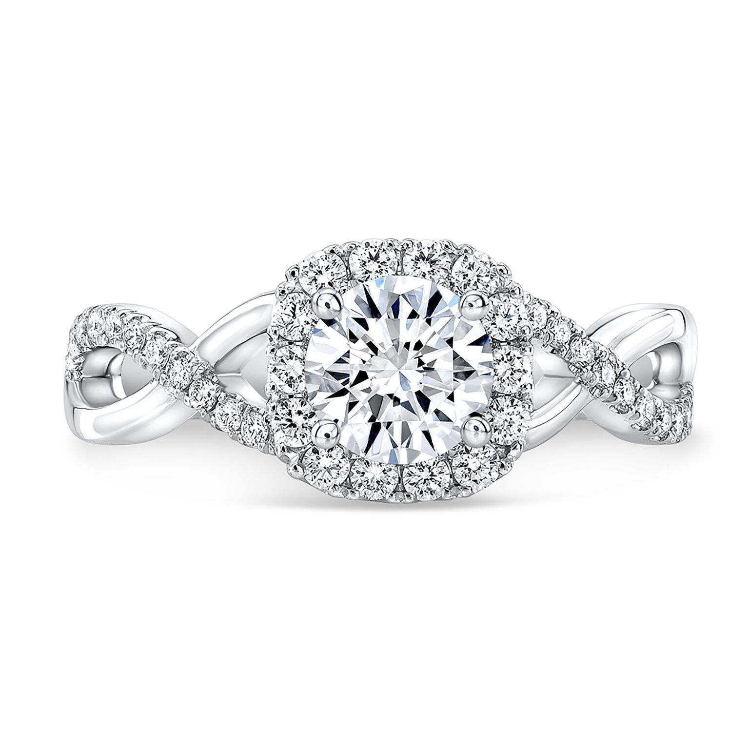 Natural Round Cut Twisted Pave Diamond Engagement Ring - GIA Certified