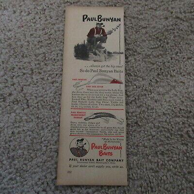 VINTAGE 40s Paul Bunyan Fishing Lures Dodger & Allied Radio Magazine Ad 1947