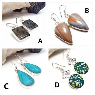 Brand New Handmade Sterling Silver & Genuine Gemstone Crystal Earrings North Melbourne Melbourne City Preview