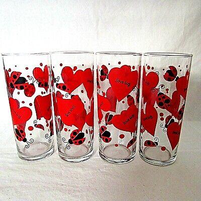 Love Bug Ladybug Tall Drinking Glass Hearts Anchor Hocking Set of 4 Vintage -