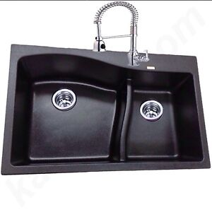 Genuine KASA BLACK PEARL CAESAR STONE Double Bowl KITCHEN SINK