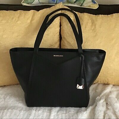 Michael Kors Black Leather Business Tote Bag Purse Extra Large