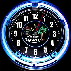BUD LIGHT BEACH LOGO - 11 Blue Neon Wall Clock