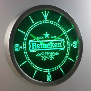 heineken horloge de bi re led publicit lumineuse leuchtreklame bar pub nouveau ebay. Black Bedroom Furniture Sets. Home Design Ideas