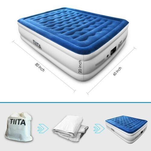 TIITA QUEEN Durable Air Mattress, Built-in Quick Pump, with Storage Bag, 20 in