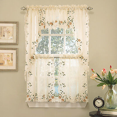 Floral Embroidered Semi-Sheer Linen Kitchen Curtain Choice Tier Valance or Swag ()