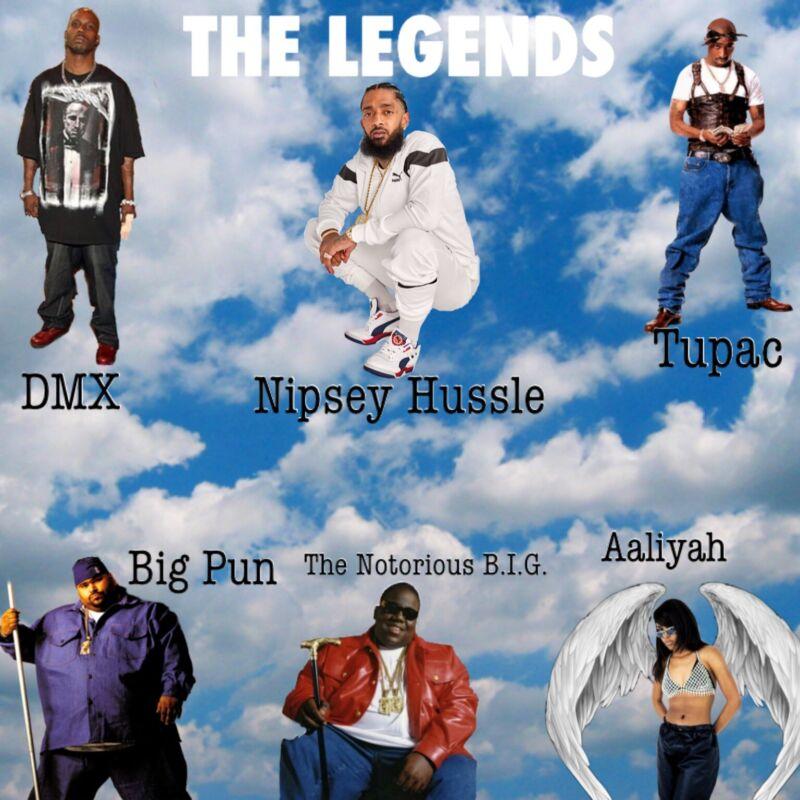 Poster DMX, Tupac, Big Pun, Aaliyah, Nipsey Hussle, The Notorious B.I.G. 24x36