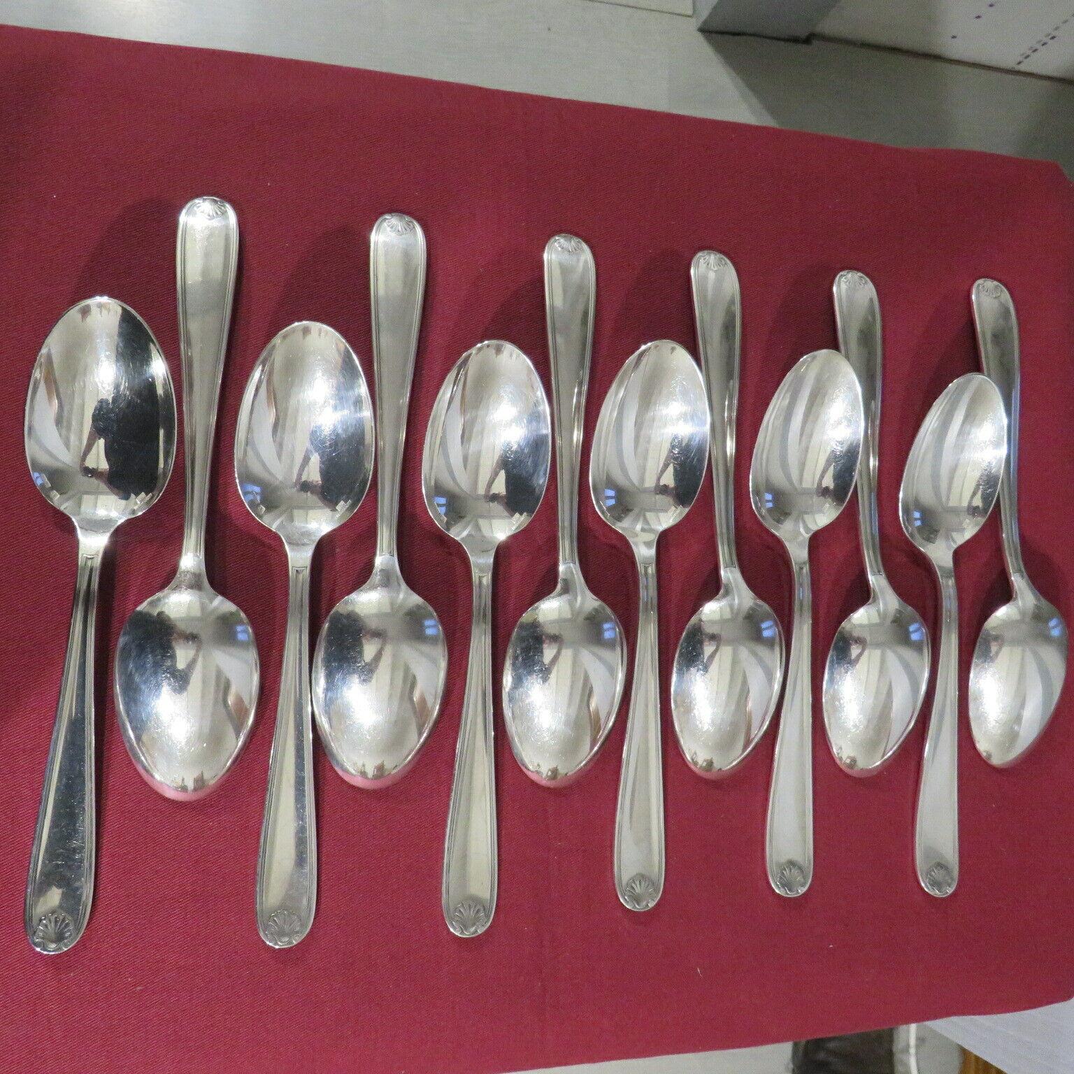 Christofle 12 Cucchiai Da Zuppa Metallo Argentato Modello Conchiglia Berain 4