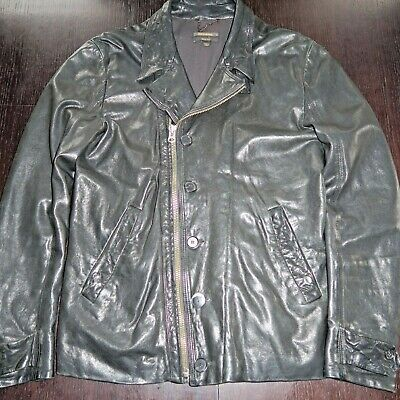 DIESEL Black GOLD Classic Black Sheep Leather Jacket Sz S