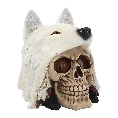 Deko Totenschädel Schädel mit Wolfs Kopf Wolf Wölfe Halloween Gothic NN56