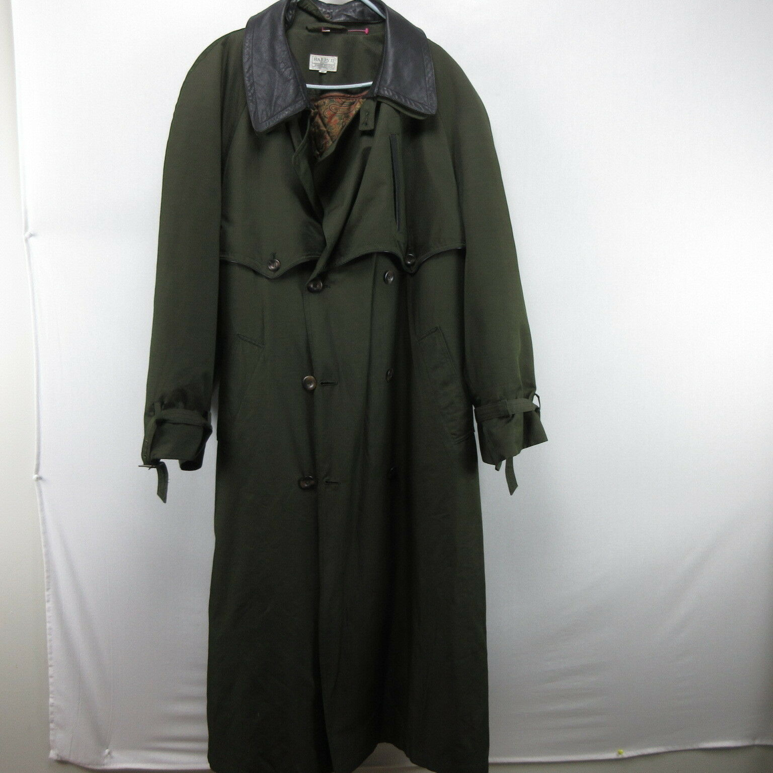 Olive Green Harry Rosen Trench Coat Jacket 44 Wint