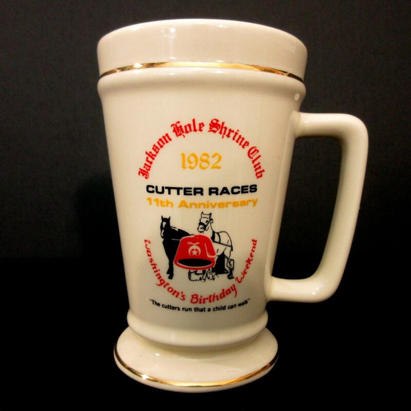 Vintage Jackson Hole Shriners Club Cutter Races Beer Stein Mug Cup Masonic 1982