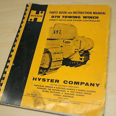 Hyster D7h Towing Winch Parts Owner Operator Service Shop Manual Cat Tractor D7