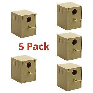 5 x Budgie Nest Box Plastic With Perch & Hooks to Front & Rear Aviary Cage Boxes