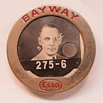 late 1930's to 1940's ESSO BAYWAY gasoline oil employee badge pinback +