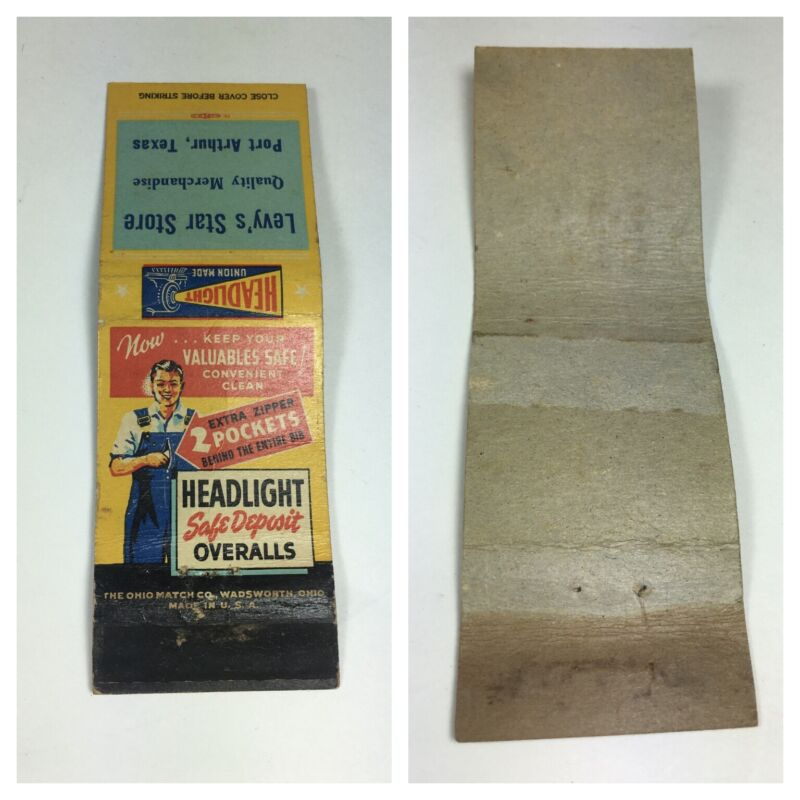 Vintage Headlight Brand Overalls  Match Book Levy's Star Store