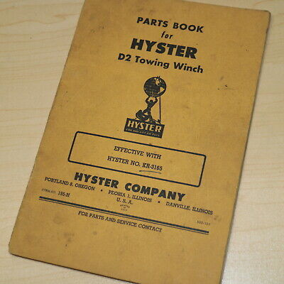 Hyster D2 Tractor Winch Parts Manual Owner Operator Operation Book Crawler Kr