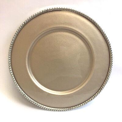 """Lot of 4 Arte Italica Perla Champagne Charger Plates PER1100C - 12-3/4"""""""
