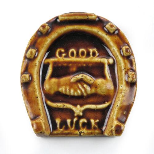 Antique 19th c. Horseshoe GOOD LUCK Stoneware Majolica Tile