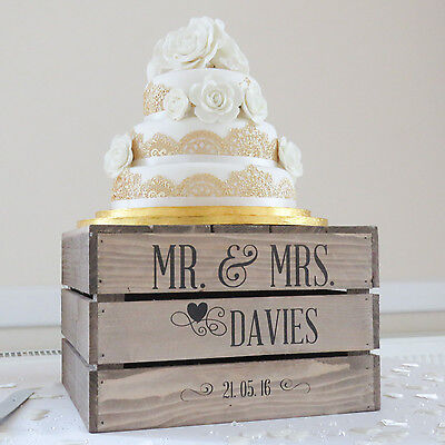 Personalised Rustic Wedding Cake Stand, Vintage Wedding Wooden Crate Cake Stand