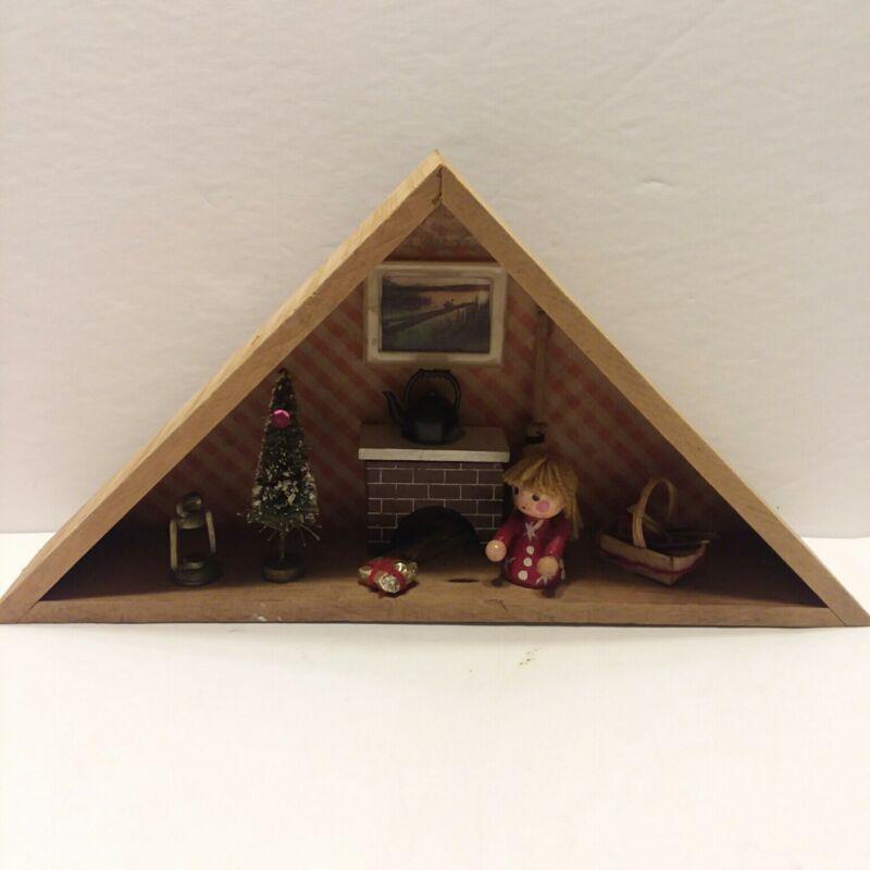Vintage Christmas Diorama Wooden Box Scene  Triangle Fireplace Tree Girl  Basket