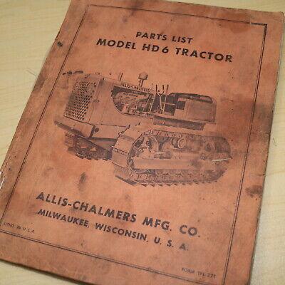 Allis Chalmers Hd6 Tractor Dozer Crawler Parts Manual Book Catalog Ac Tpl-271