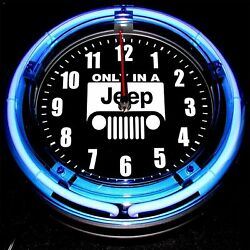 JEEP LOGO - 11 Blue Neon Wall Clock