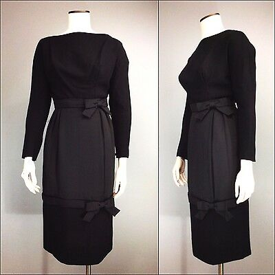 Vtg 50s Designer 60s High Fashion Wool Wiggle Dress Bows Gay Gibson Zip Cuffs