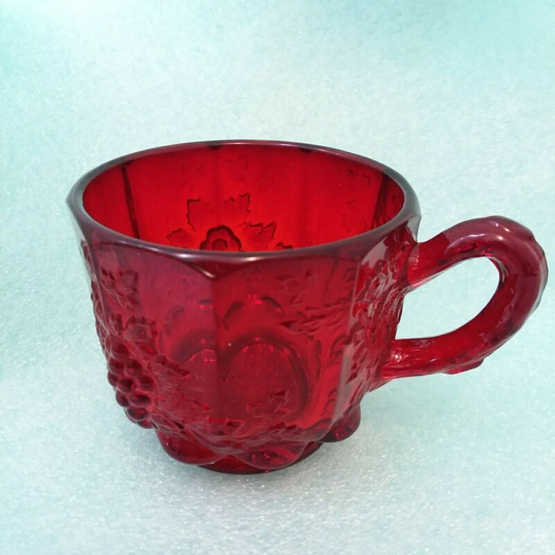 """L. G. Wright Ruby Red Glass Panel Grape Punch Bowl Set Footed Cup 2 3/8""""x3 6/8"""""""
