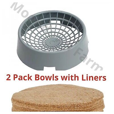 2 x Pigeon Nesting Bowls with Jute Liners For Nesting Pigeons Open
