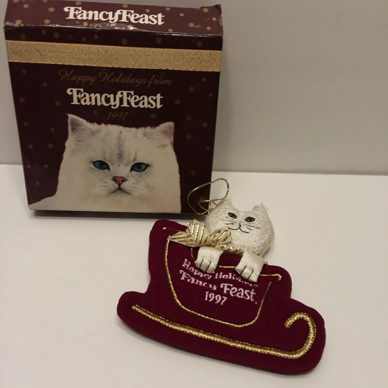 NIB 1997 Happy Holidays Fancy Feast Cat Collectible Ornament by Friskies PetCare