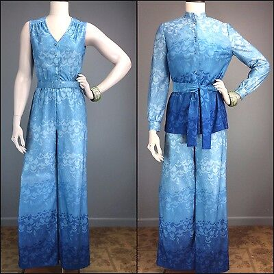 Vtg 70s Jumpsuit Ombre Opart Blue Tulips Teal Rhinestone Buttons Jacket 2 Belts