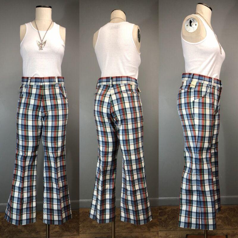Vtg 70s Sears Toughskins Plaid Bell Bottom Jeans Disco Pant 31 X 27 NOS Talon 42