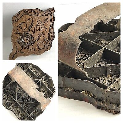 Large Antique 1800s Copper Iron Block Textile Fabric Print Stamp Flowers Batik