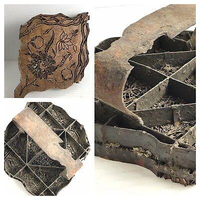 Large Antique 1800s Copper Iron Block Textile Fabric Print Stamp Flowers Batik