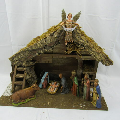 Vintage Sears Nativity Set Made In Italy 9 Figures Real Wood & Moss Stable w BOX