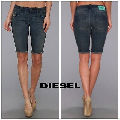 Diesel De Grushort Calzoncini Blue Short Indigo Wash Jean Size 25 $228 for sale  Shipping to India