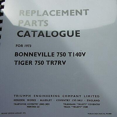 Triumph Bonneville 750 T140V Tiger 750 TR7RV Replacement Parts Catalogue 1973.