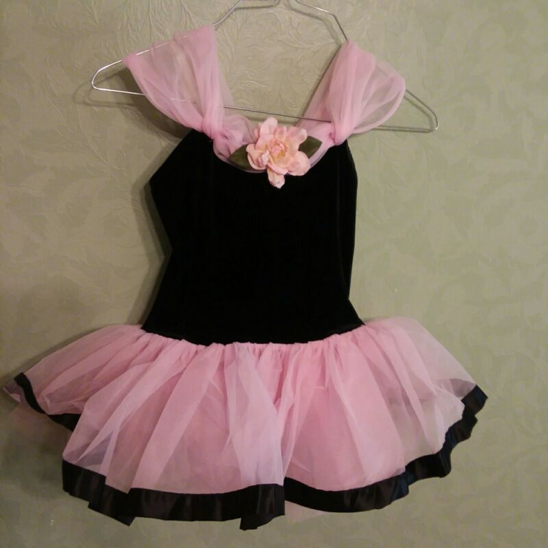 Curtain Call Costumes Black/Pink Tulle Childs Girls Dance CME Dress Up Velvet